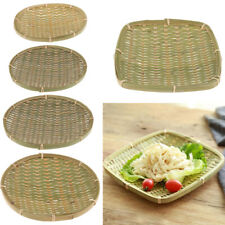 Large Woven Wicker Bamboo Bread Basket Fruit Cupcake Display Serving Tray