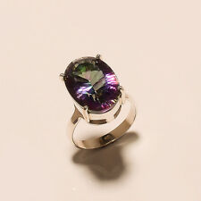 7.00Gm 925 Solid Sterling Silver Ring Gemstone Mystic Topaz Ring Size 8.5 i-1045