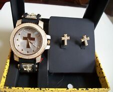 Gold Finish CROSS Iced Out Techno Pave Watch/Complementary Earring Combo Box