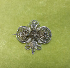 Antique Sterling Silver Wire Filigree Flower Brooch, Very Detailed, C Clasp