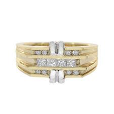 0.55 Carat Princess And Round Cut Diamonds Man's Ring 14K Two Tone Gold