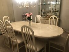 White Lacquer Dining Room Set With 8 Chairs Removable Table Leaf and China Hutch