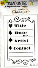 New ART IMPRESSIONS RUBBER STAMP cling ATC title card info Artist Trading Card