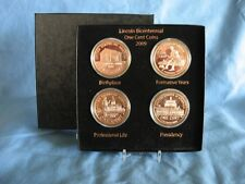 Lincoln Bicentennial  Set  Copper Rounds  and Display Box with Card