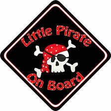 Non Pers Baby On Board Car Sign New Little Pirate Red/b
