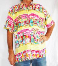 """LOUD UOMO CAMICIA HAWAIANA, Giallo con birra bottiglie, L, 52 """","""