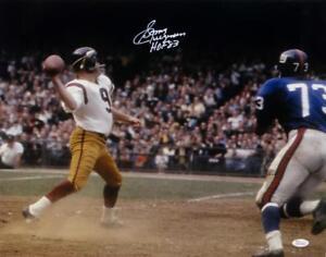 Sonny Jurgensen HOF Signed Redskins 16x20 Passing Against Giants Photo- JSA W Au