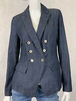 White House Black Market Chambray Trophy Jacket Sz 6 Blazer Double Breasted WHBM
