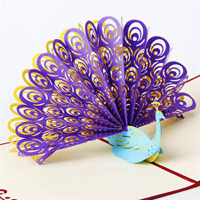 3D Pop Up Greeting Cards Peacock Birthday Valentines Anniversary Thanks Postcard