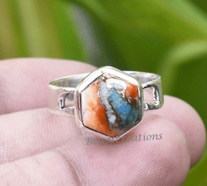 Natural Oyster Copper Turquoise Ring 925 Silver Hexagon Ring Christmas Sale