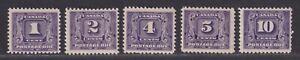 Canada Scott J6-J10 F/VF MNH/LH 1930-1932 Postage Due Issue 5 Stamps SCV $287
