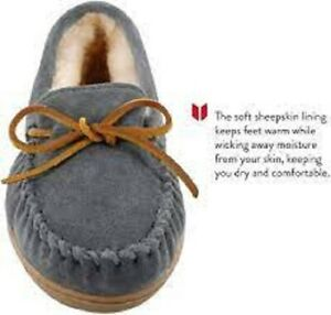 NEW Minnetonka Women's Sheepskin Grey Hardsole Moccasin - Size 9/ EU 40
