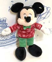 """New Disney Store Mickey Mouse Winter Christmas Holiday Plush Toy Doll 9"""" NWOT"""