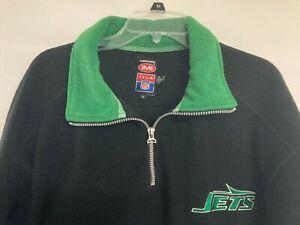 Vintage 1980 NY JETS Men's Size XL 1/4 Zip Pullover Heavy Fleece Top Black/Green
