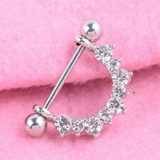 Rhinestone Nipple Ring Shield Barbell Surgical Steel Body Piercing Jewellery