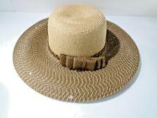 Cara New York Women's Brown Beige Wide Brim Bow Straw Sun Hat NWT 150