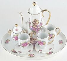 MINIATURE GOLD TRIM CHERUB PORCELAIN TEA SET TEAPOT SUGAR BOWL CREAMER 2 TEACUPS