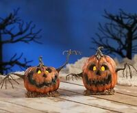 "Bethany Lowe Halloween 2 pc "" Into The Woods Pumpkin Mini"" Jack O Lantern"