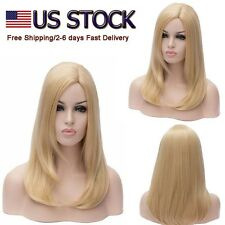 US STOCK Women's Golden Blonde Straight  Wig Mid Long Cosplay Full Hair Wigs+Cap