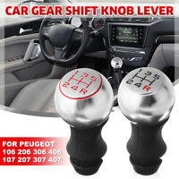 5 Speed Gear Shift Knob Shifter Matte Chrome For Peugeot 106 206 306 207 307 407