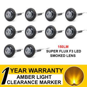 """10 X Bullet Side Marker Tail Light 3/4"""" Smoked Lens Amber LED Truck ATV Trailer"""