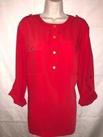 Women's JONES NEW YORK Salmon Orange Long Sleeve Button Up Top (Size 16W)
