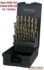 TERRAX by RUKO 25-piece HSSE-Co5, Cobalt Drill Set 1-13mm in increments of 0.5mm