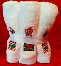 New Six 6 Pack Christmas Dog Embellised Embroidered Wash Towels Cloths Schnauzer