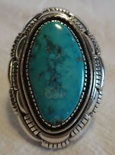 Huge & Heavy Vintage NAVAJO Sterling Silver & TURQUOISE RING, size 8.25