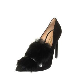 RRP €200 MARCO BARBABELLA Leather Court Shoes Size 36 UK 3 US 6 Rabbit Fur Trim