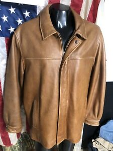 Wilsons Leather Brown Tan Leather Zip Jacket Mens XL Removable Liner Thinsulate