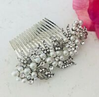 Wedding Bridal Silver Crystal Diamanté Pearl Hair Comb Clip Slide Fascinator -UK