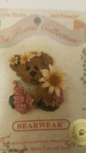 Boyds Bears and Friends Bearwear Pin Brooch The Floral Collection on Card New