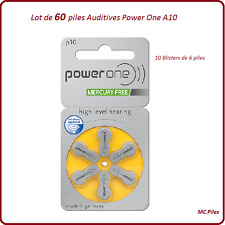 Lot de 60 piles boutons auditives A10 Power One, livraison rapide et gratuite