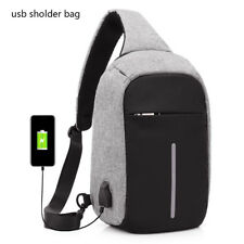 Waterproof Cross Body Pack USB Charger Backpack Chest Travel Sport Bag UK