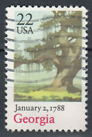 USA Briefmarke gestempelt 22c January 2 1788 Georgia / 63