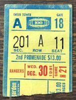 12-30-81 New York Rangers Ticket Stub vs Islanders Madison Square Garden