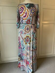 Desigual Maxi Dress. On / Off Shoulder. Elastic Waist. 3/4 Sleeves. Size 12 (42)