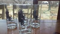 Vintage American Bald Eagle Tumblers Glasses by Reims France 6 12 oz flat bottom