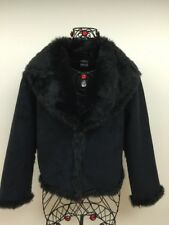 EUC CEJON Womens S Black Faux Fur and Faux Suede Reversable Hooks Jacket Coat
