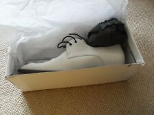 Office flat lace up white leather shoes - size 7.5