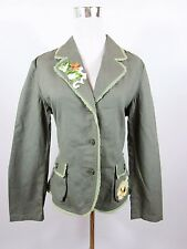 Authentic Clothing Company Women's Vtg Green Linen Embellished Jacket sz 14 BC70