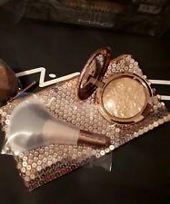 Mac Snow Ball Face Bag Gold, Whisper of Gilt 140SE Fan Brush & Bag Ltd Ed BNIB
