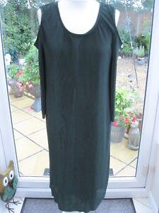 Nina Leonard 3/4 Sleeve Cold Shoulder Pleat Dress Spruce Size Large Brand New