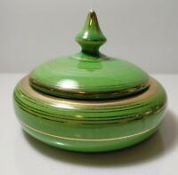 Vintage Weller Pottery Art Deco Green Glaze with gold trim.