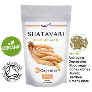 Shatavari Capsules Organic Certified  750mg Capsules Asparagus Root Powder Caps.