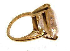 Ladies vintage fashion ring gold plate on silver with pink teardrop faceted