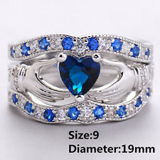 Stainless Steel Real Love Heart Couple Rings Necklace Engagement Wedding Band La Men's 10