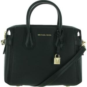 MICHAEL Michael Kors Womens Mercer Black Tote Satchel Handbag Medium BHFO 0190