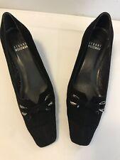 Stuart Weitzman Shoes Womens Size 4.5 Medium Heels Black Velvet Square Heel Bow